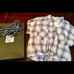 NWT Bella Dahl 100%Rayon Tie Front Lavender blouse